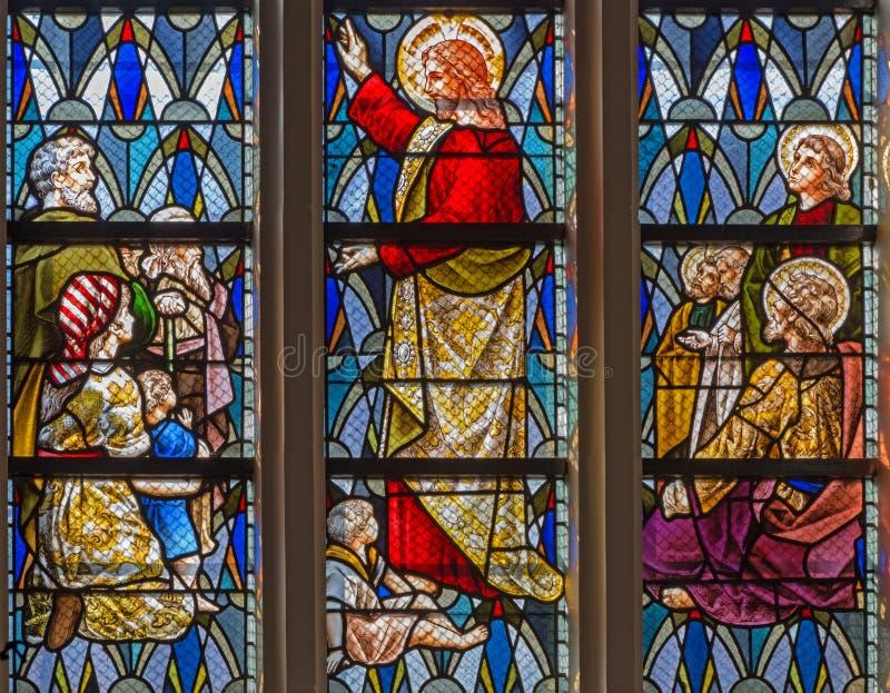 Leuven - Jesus bij het onderwijs in st. Anthony kerk van. cent 19. royalty-vrije stock afbeelding