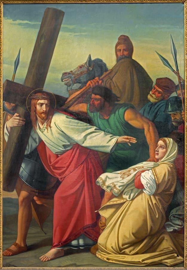 Leuven - målarfärg av platsen Jesus och Veronica på den arga vägen vid G Guffens i den St Michael kyrkan arkivfoton