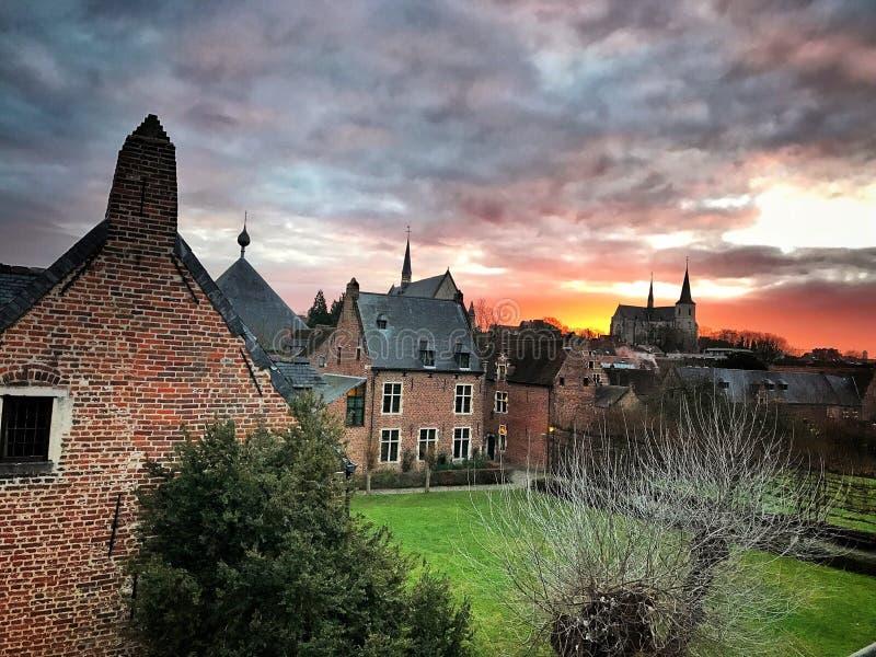 Leuven sunrise stock images