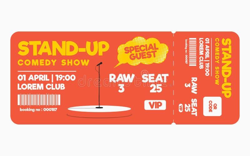 Levántese el boleto de la comedia en el fondo blanco Plantilla del boleto para la comedia, funcionamiento ilustración del vector