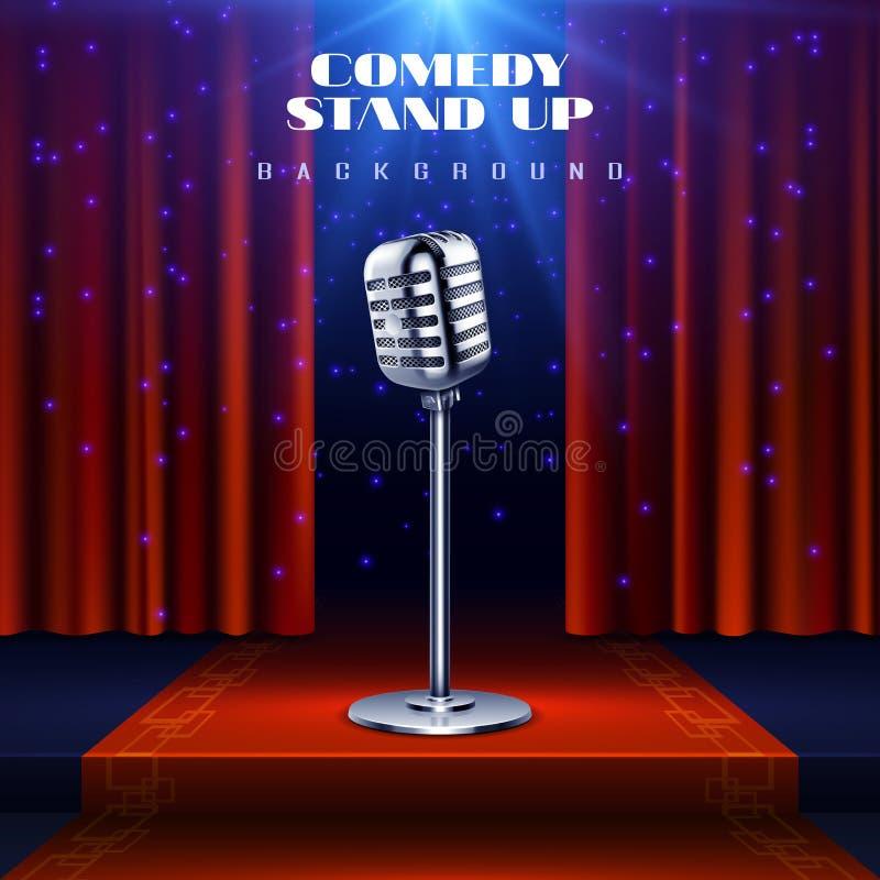 Levántese el fondo del vector de la comedia con el micrófono retro en etapa y la cortina roja libre illustration