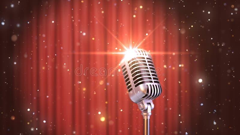 Levántese el micrófono retro con las cortinas rojas, 3d del fondo rinden ilustración del vector