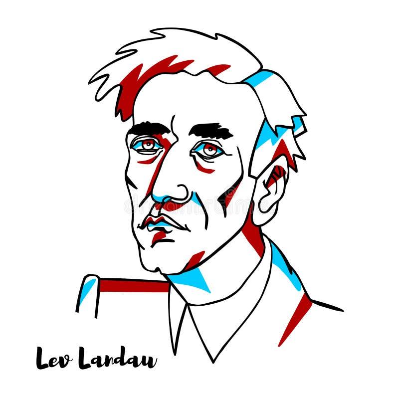 Lev Landau Portrait stock de ilustración