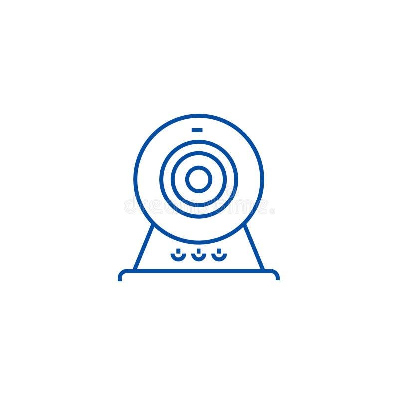Leva de la web, línea en línea concepto de la cámara del icono Leva de la web, símbolo plano del vector de la cámara en línea, mu stock de ilustración