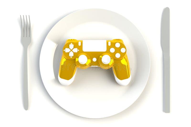 Leva di comando gialla sul piatto, sul coltello e sulla forcella sul fondo bianco della tavola, concorrenza del gioco di computer illustrazione vettoriale