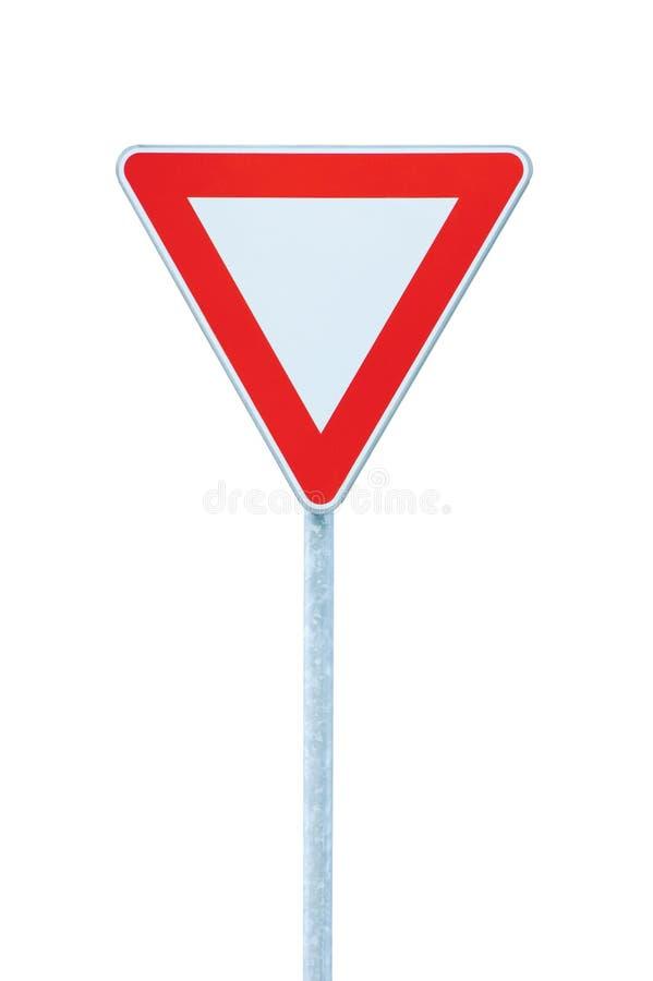 Leva o sinal do roadsign do tráfego de estrada do rendimento da prioridade fotos de stock