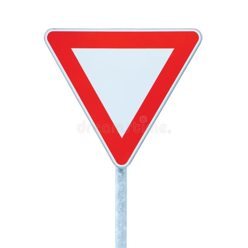 Leva o sinal do roadsign do tráfego rodoviário do rendimento da prioridade, close up detalhado isolatedlarge fotos de stock royalty free