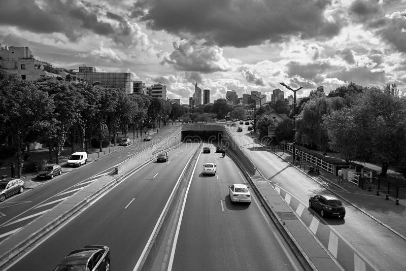 Levallois-Perret, Grand Paris, Francja, drogowy ruch drogowy zdjęcie stock
