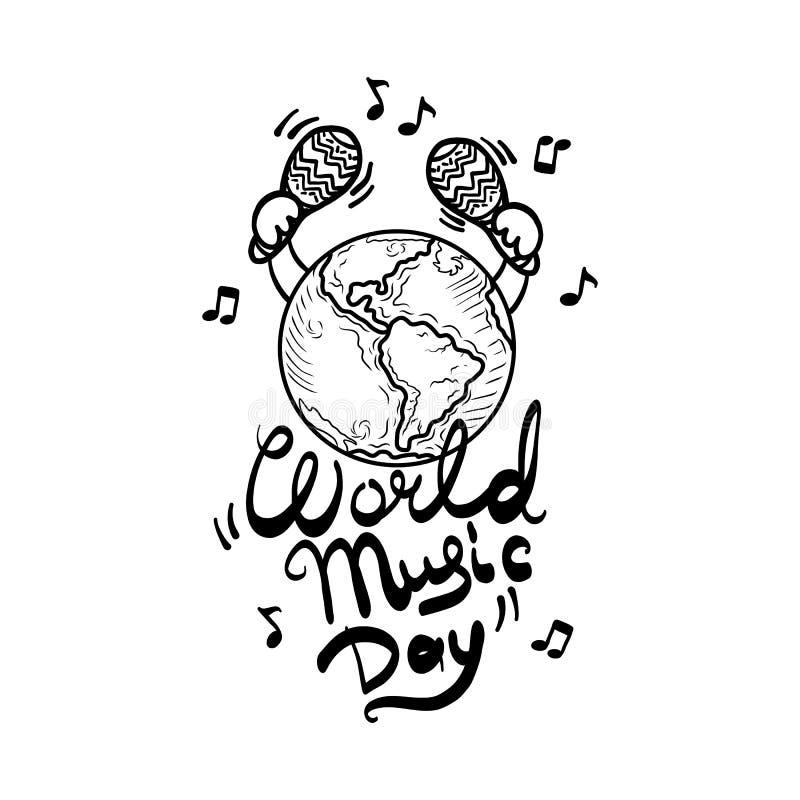 Levande bakgrund för begrepp för världsmusikdag, hand dragen stil stock illustrationer