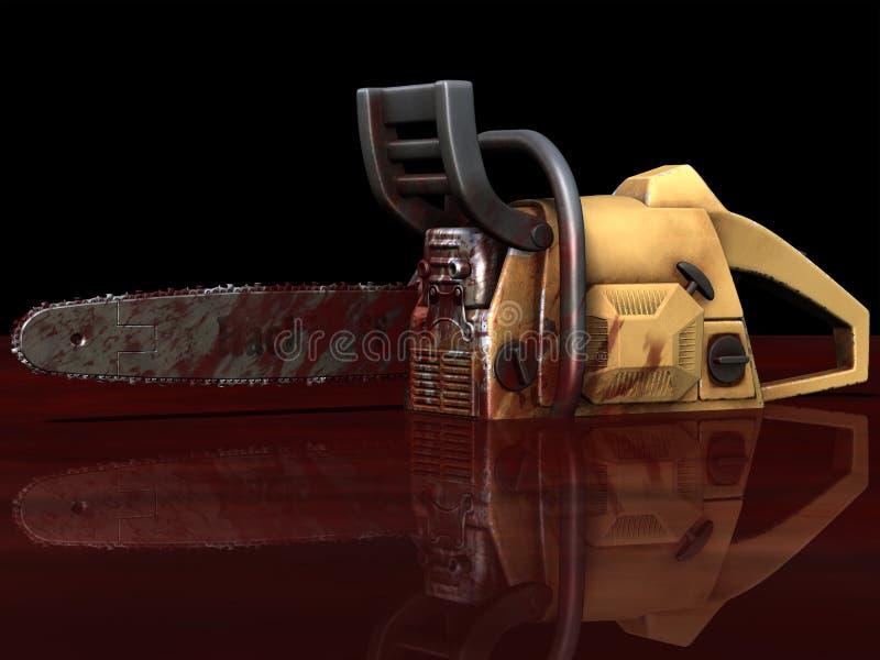 Levande död - blodig Chainsaw stock illustrationer