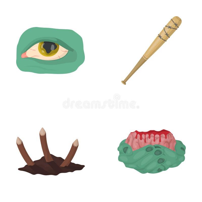 Levande död, dött som, är infekterade, och annan rengöringsduksymbol i tecknad filmstil Händer hjärna, blodsymboler i uppsättning stock illustrationer