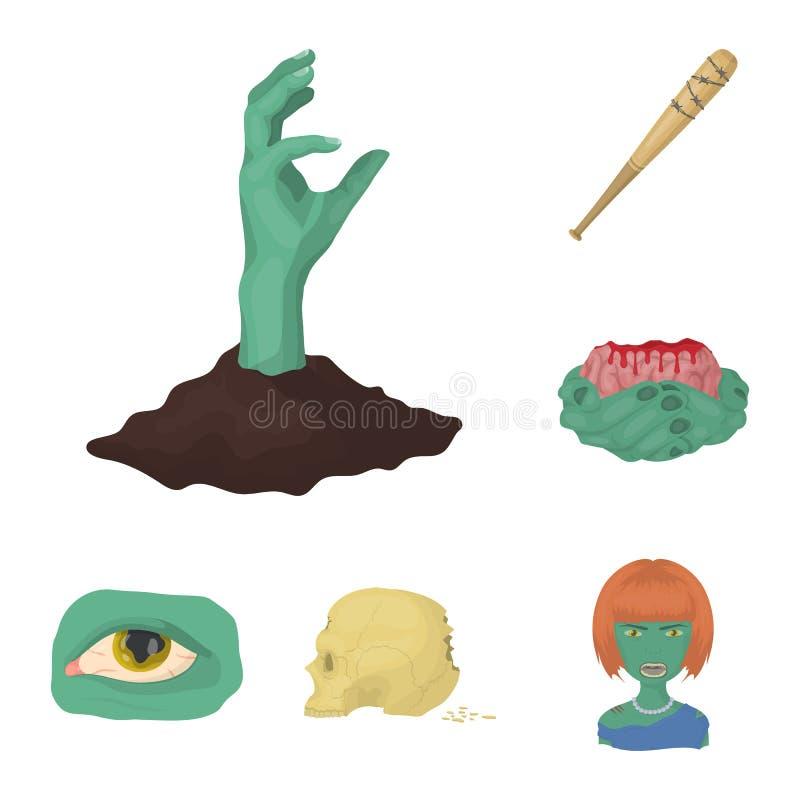 Levande död- och attributtecknad filmsymboler i uppsättningsamlingen för design Död illustration för rengöringsduk för materiel f stock illustrationer
