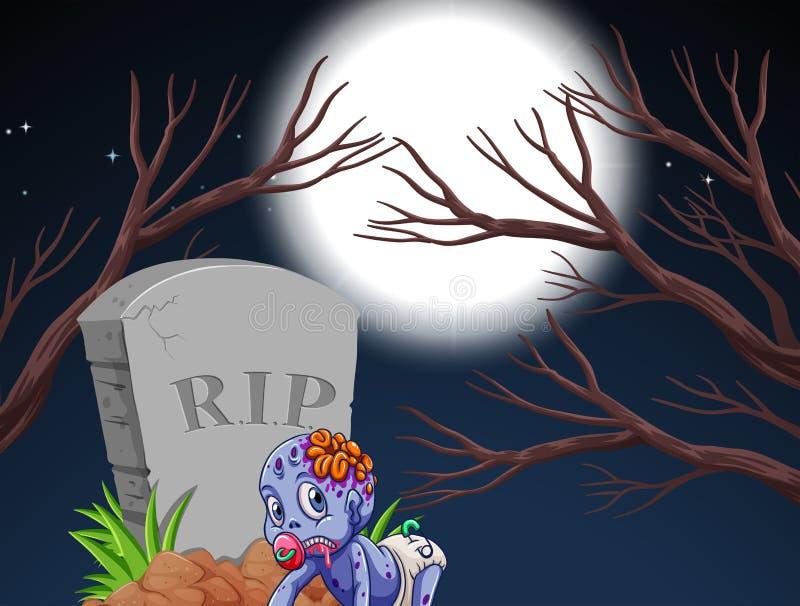 Levande död och gravsten i nattplats stock illustrationer