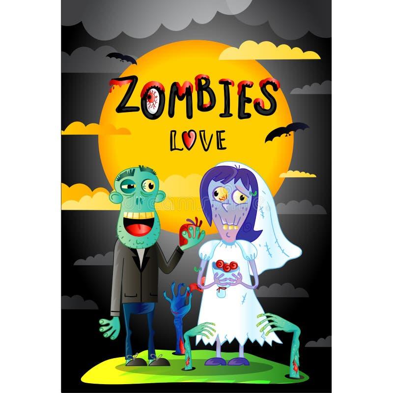Levande dödförälskelseaffisch med gifta levande dödpar royaltyfri illustrationer