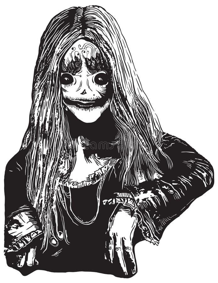 Levande dödflicka, en hand dragen vektorillustration stock illustrationer