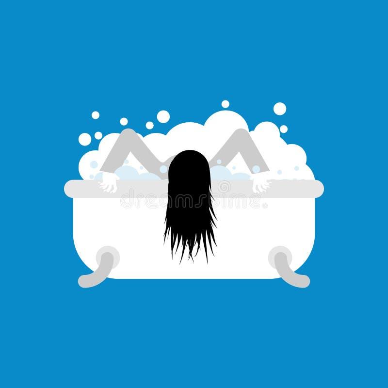 Levande dödflicka i det isolerade badet döda kvinnawashes vektor royaltyfri illustrationer