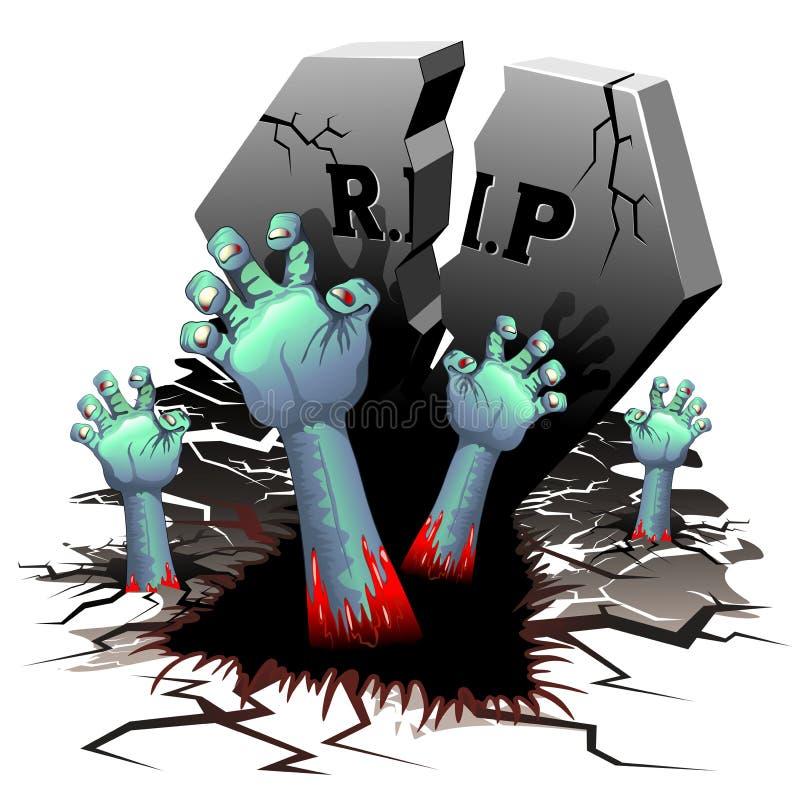 Levande dödhänder på kyrkogård royaltyfri illustrationer