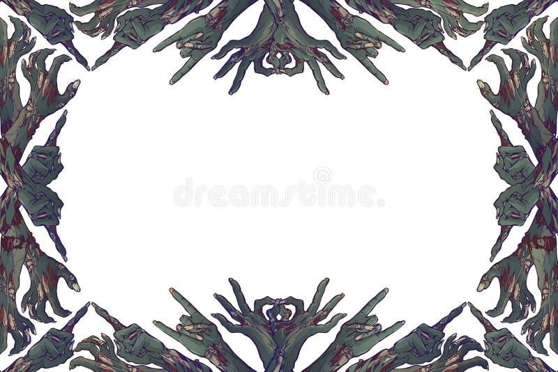 Levande dödkroppsspråk Dekorativ ram som göras av levande dödhänder med olika gester linjär teckning som färgas som isoleras på royaltyfri illustrationer