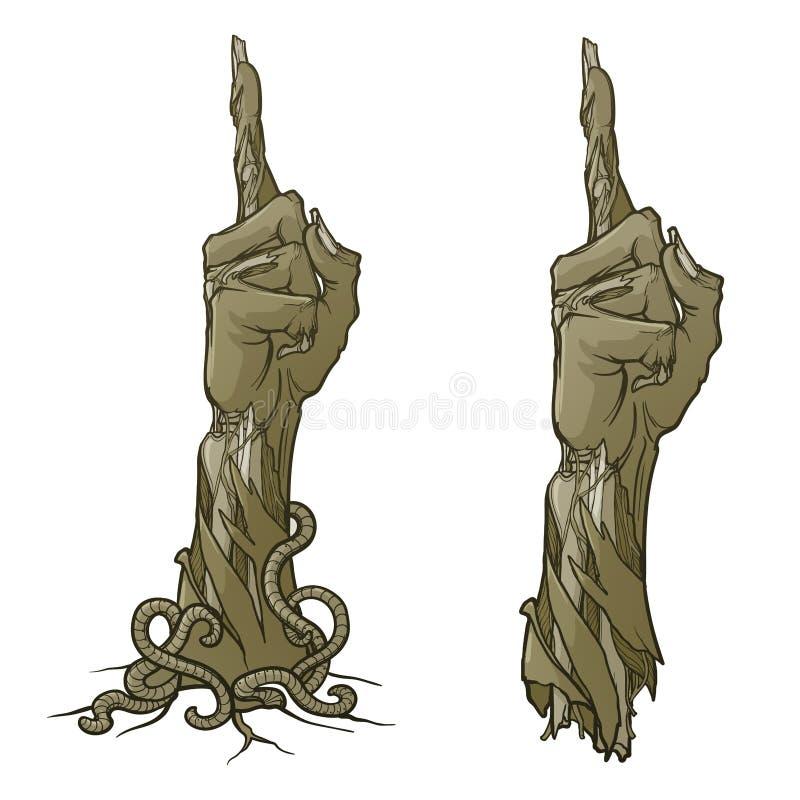 Levande dödkroppsspråk Peka upp fingret naturtrogen återgivning av den ruttna exponeringen med trasig hud, stickande fram ben och vektor illustrationer