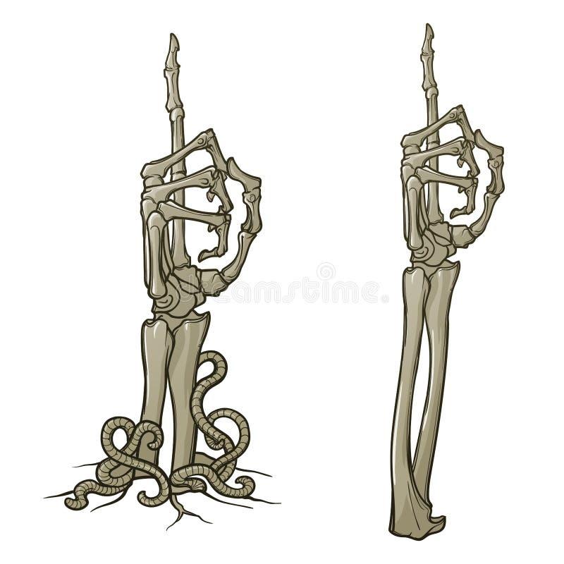 Levande dödkroppsspråk Peka upp fingret Paret av skelettet räcker resning från jordningen och upprivet vektor illustrationer