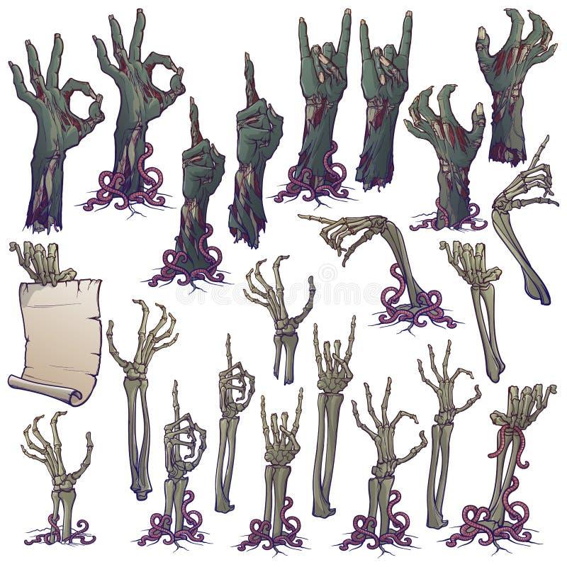 Levande dödkroppsspråk Uppsättningen av naturtrogna ruttna det levande dödhänder och skelettet räcker stigning från under jordnin stock illustrationer