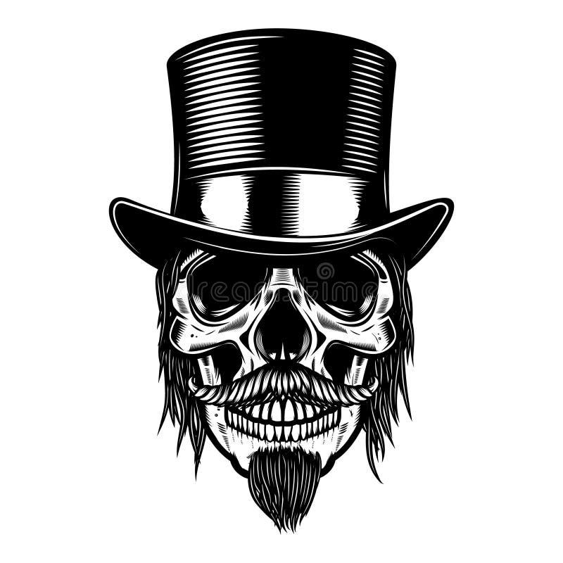Levande dödskalle i tappninghatt Planlägg beståndsdelen för affischen, emblemet, tecknet, t-skjorta stock illustrationer
