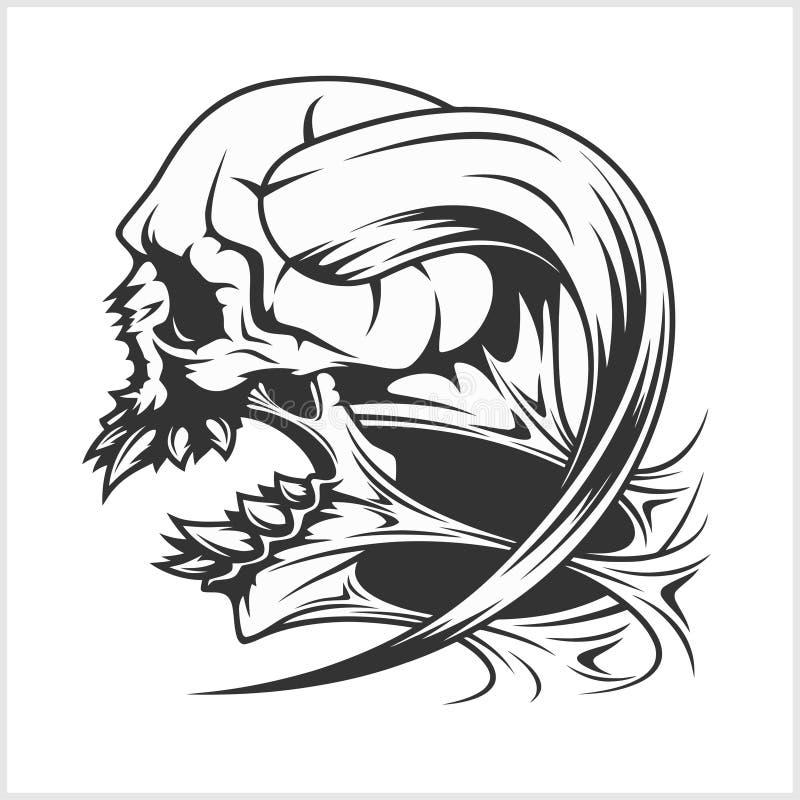 Levande dödskallehuvud royaltyfri illustrationer
