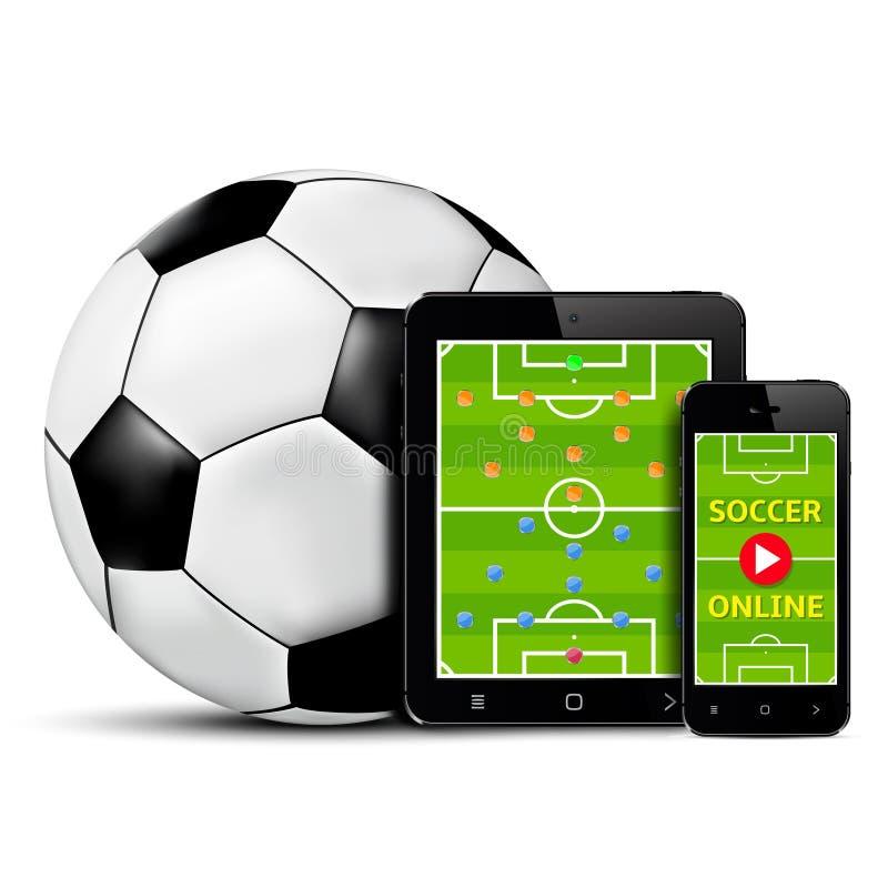 Levande fotboll och fotboll direktanslutet på mobiltelefonen och minnestavlan med taktisk intrig på skärmen stock illustrationer