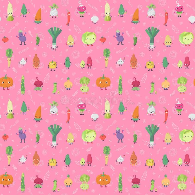 Levande grönsaker för tecknad film & rosa färger för modell för klottervektor sömlösa vektor illustrationer
