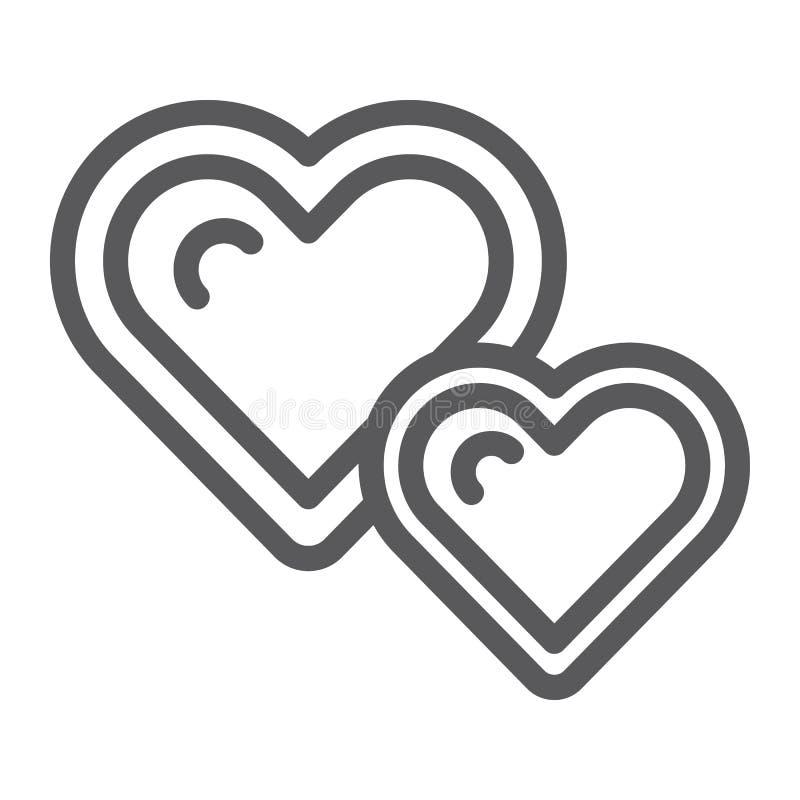 Levande hjärtor fodrar symbolen, älskar och gillar, hjärtatecknet, vektordiagram, en linjär modell på en vit bakgrund royaltyfri illustrationer