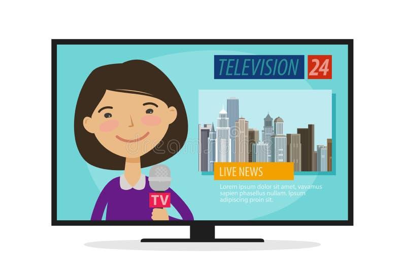 Levande nyheterna Ung kvinna, nyhetsuppläsare med mikrofonen i hand Tv televisionbegrepp den främmande tecknad filmkatten flyr il vektor illustrationer