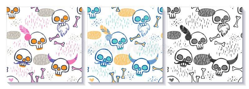 Levande skallar vektor illustrationer