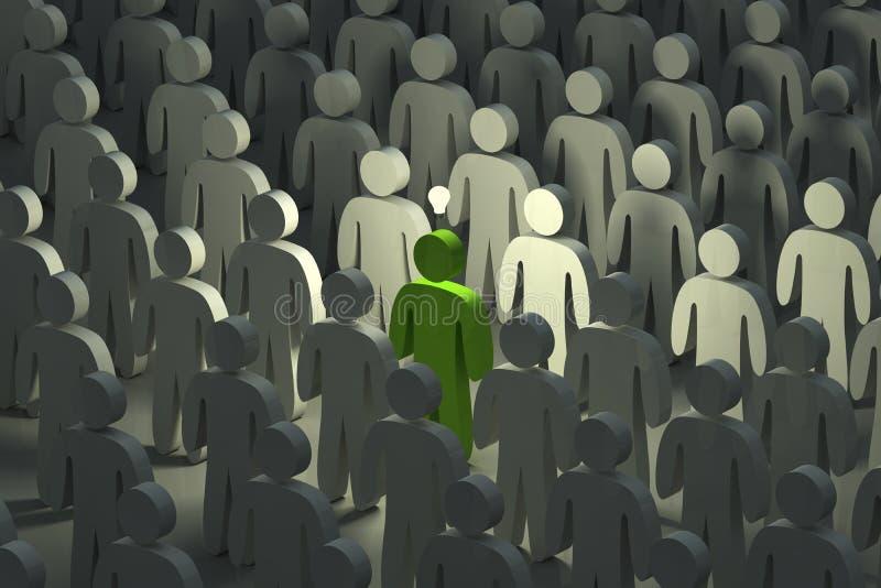 Levandosi in piedi fuori dalla folla con un'idea illustrazione vettoriale
