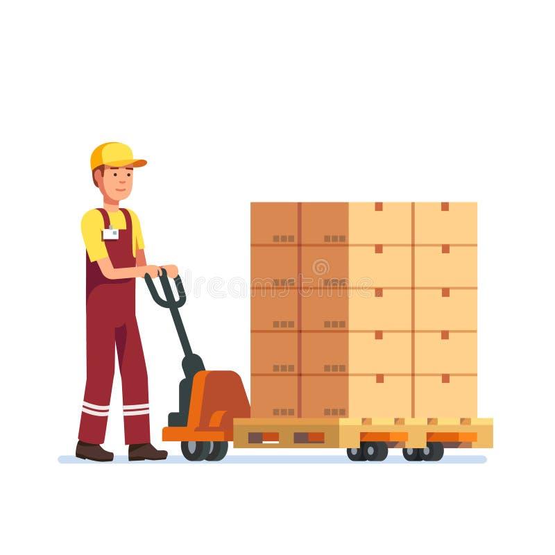 Levantador de la bifurcación de la mano del remolque del hombre del trabajador de Warehouse stock de ilustración