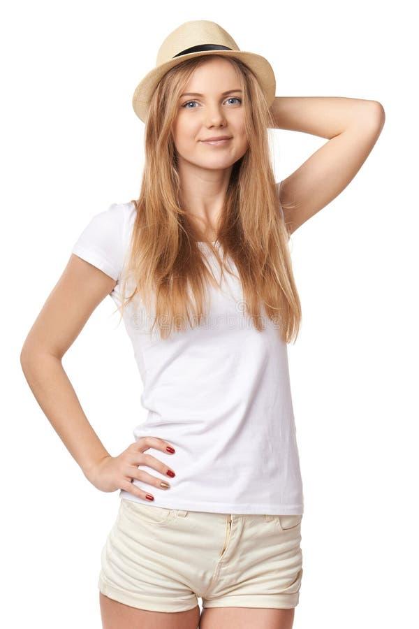 Levantamento adolescente de sorriso natural da menina foto de stock royalty free