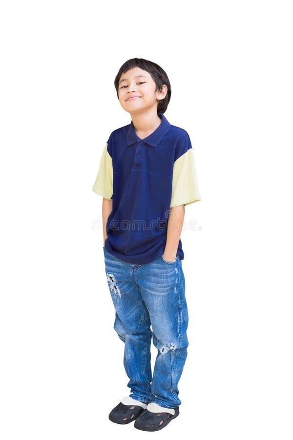Levantamento asiático de sorriso do menino foto de stock