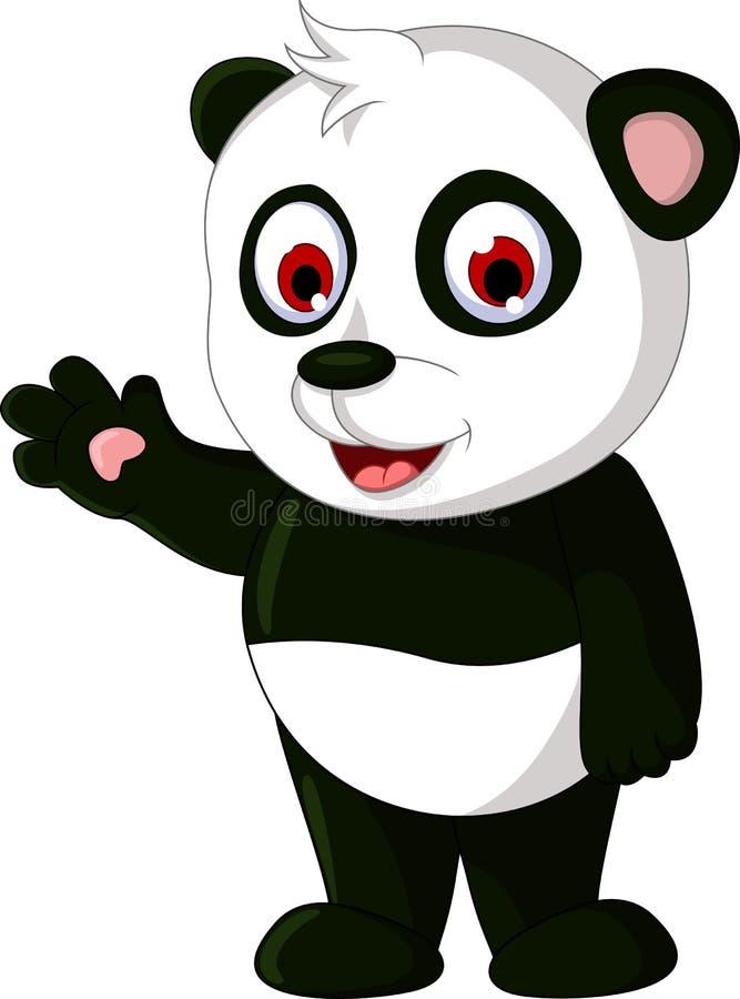 Levantamento bonito da panda dos desenhos animados ilustração stock
