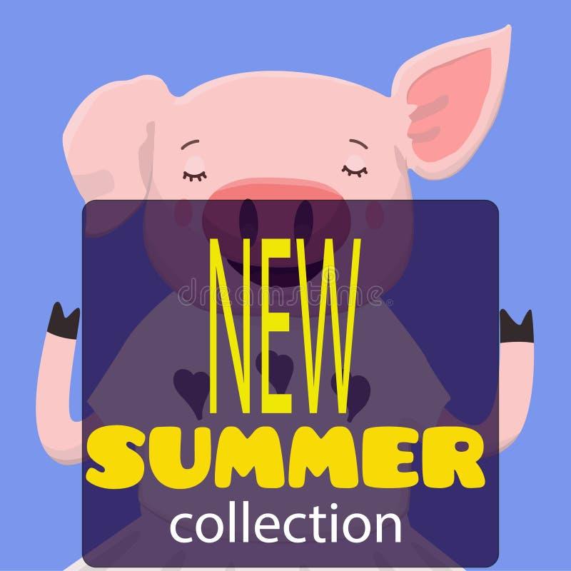 Levantamento bonito dos desenhos animados do porco ilustração royalty free