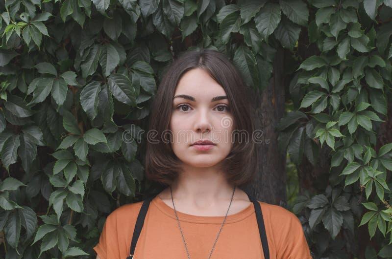 Levantamento de cabelo escuro bonito da menina fotos de stock royalty free