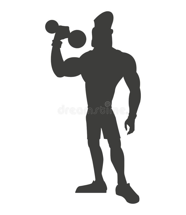 Levantamento de peso saudável do homem da silhueta ilustração do vetor
