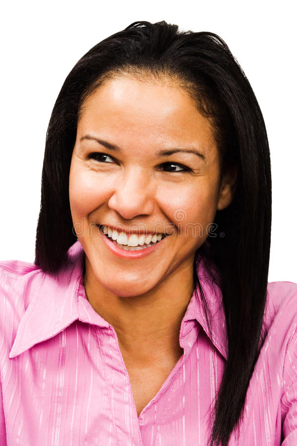 Levantamento de sorriso da mulher foto de stock