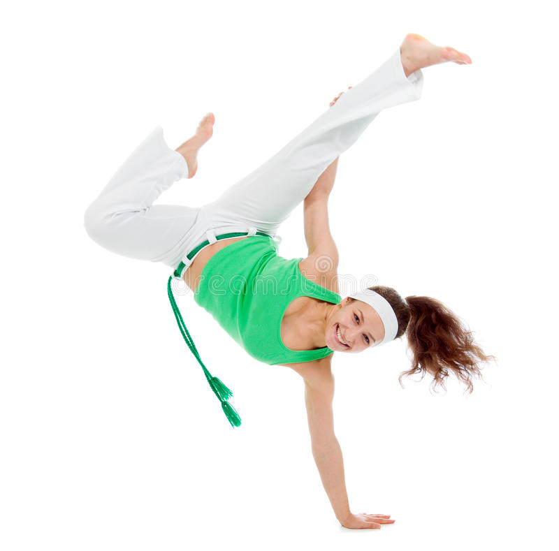 Levantamento do dançarino do capoeira da menina foto de stock royalty free