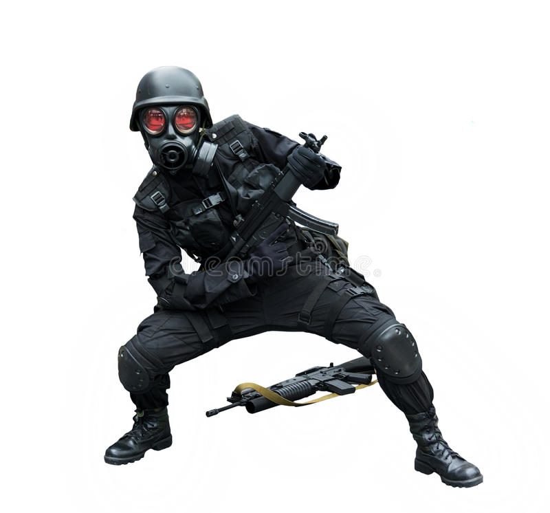 Levantamento do soldado da força especial engraçado no fundo do isolamento imagens de stock