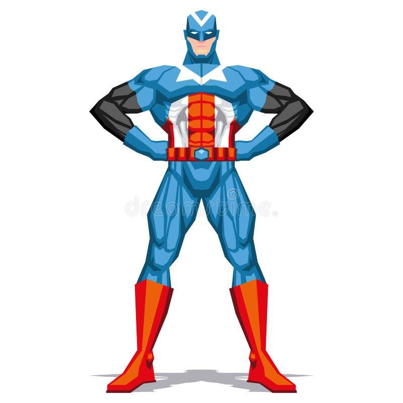 Levantamento do super-herói isolado no fundo branco ilustração do vetor