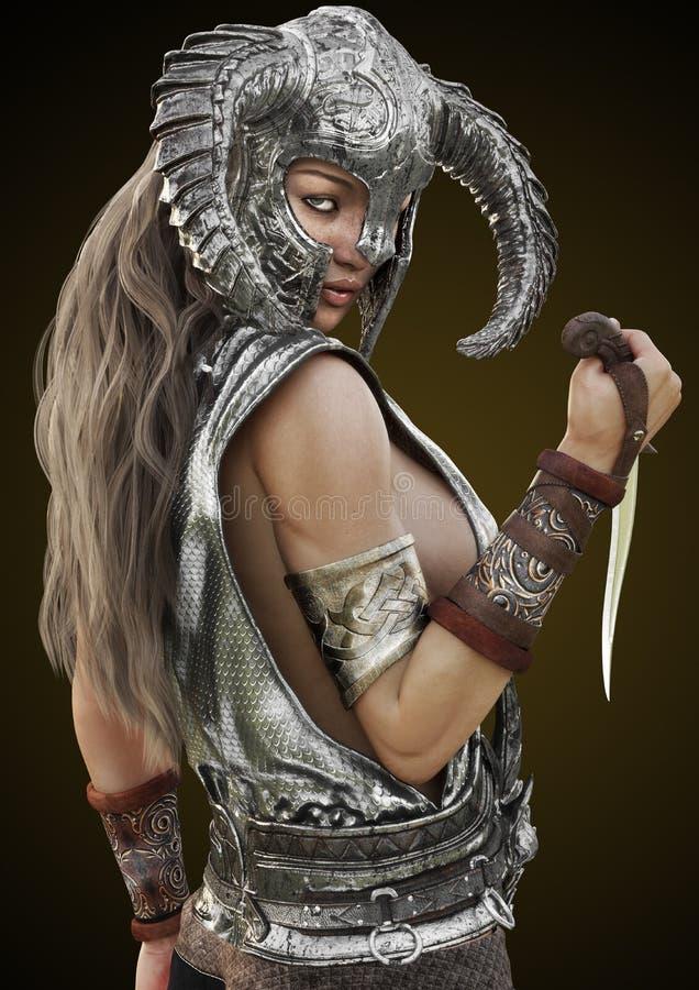 Levantamento fêmea do guerreiro do vermelho da fantasia com capacete e punhal em um fundo do inclinação imagem de stock