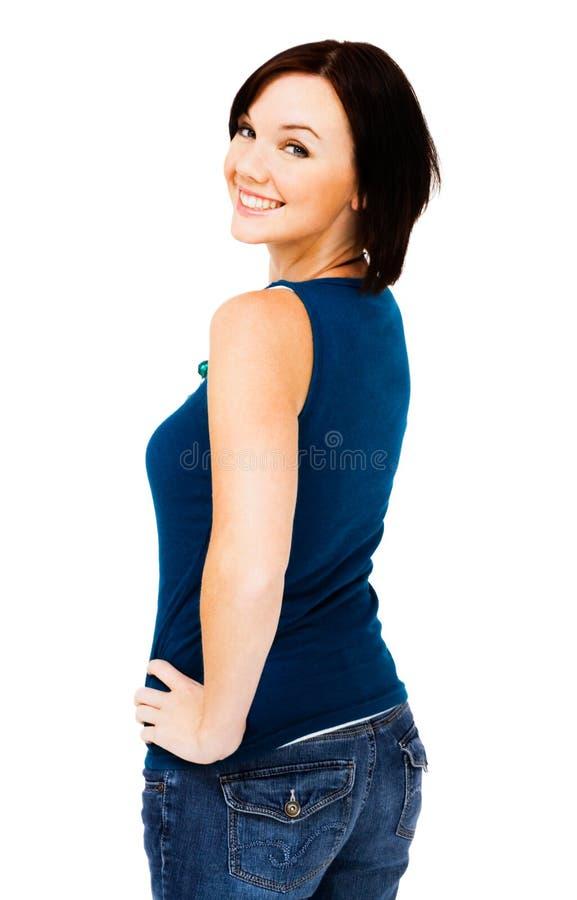 Levantamento feliz da mulher nova fotografia de stock