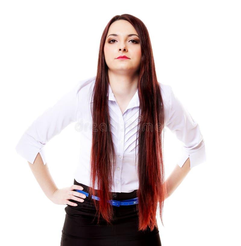 Levantamento longo reto da composição do cabelo da mulher foto de stock royalty free