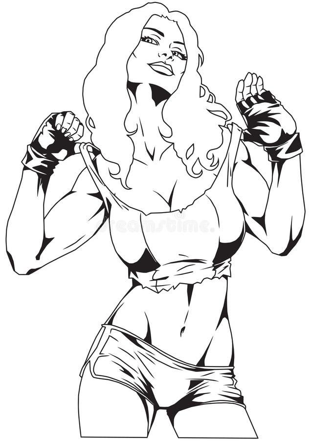 Levantamento 'sexy' da menina ilustração do vetor