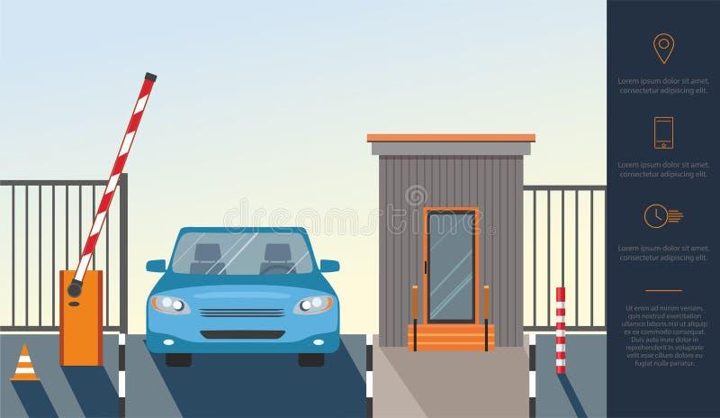 Levantamiento automático encima de barrera, puerta del sistema automático para la seguridad y coche azul ilustración del vector