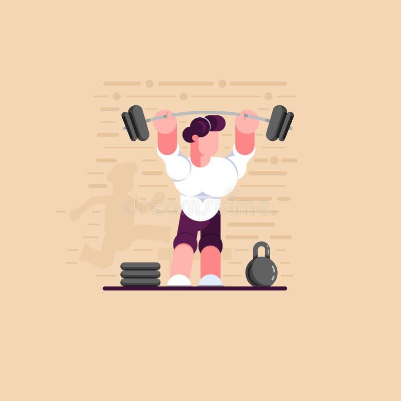 Levantamiento de pesas del atleta Ejercicios de la fuerza Forma de vida sana Educación física del deporte Ilustración moderna del ilustración del vector
